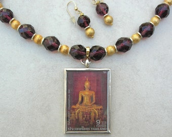 Bangkok Golden Buddha, Detachable Pendant, Wear Back to Front, Crystal, Gold Vermeil, Silver Beads, Versatile Necklace Set by SandraDesigns