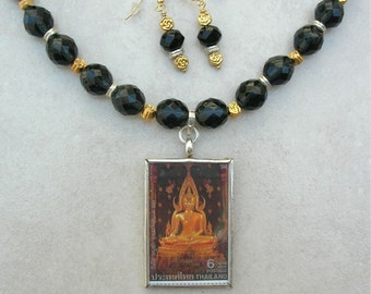 Thai Gold Buddha, Detachable Pendant, Wear Back to Front, Crystal, Gold Vermeil & Thai Silver Beads, Versatile Necklace Set by SandraDesigns