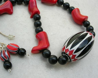 Beautiful Black, Red & White Chevron Focal Bead, Real Coral and Black Stone Beads, Modern Tribal Necklace Set by SandraDesigns