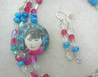 Chinese Girl Focal Bead, Versatile Very Long Czech Glass Beaded Necklace, Matching Earrings, The Faces Collection, Set by SandraDesigns