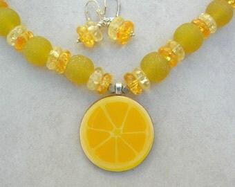 "SUMMER Zesty Lemon Pendant & Lemon Drop Glass Candy, Yummy Fruit and Candy ""Edible"" Necklace Set by SandraDesigns"