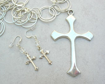 Sterling Silver Crosses, Large Detachable Cross Pendant, Silver Link Chain, Versatile Statement Necklace Set by SandraDesigns