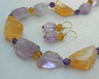 BIG BOLD LONG Citrine, Amethyst & Crystal Beads, Beautiful Gold Vermeil Clasp and Earring Wires, Statement Necklace Set by SandraDesigns