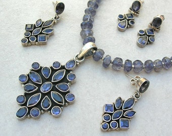 Beautiful Semi-Precious Iolite Pendant, Iolite Beads & Clasp, and 2 Pairs of Iolite Earrings, Complete Investment Set by SandraDesigns