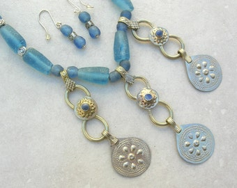Afghan Kuchi Dangles & Recycled Glass Beads from Ghana, Boho Gypsy Look, Silk Road Statement Necklace Set by SandraDesigns