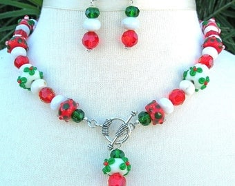 Festive Holiday Reds & Greens, Holly Berries Lampwork Glass, Jade/Crystal Beads, Necklace Set by SandraDesigns