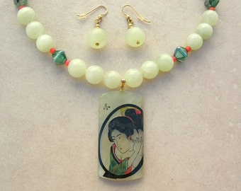 EXCLUSIVE Jade Geisha in Mirror Pendant, Fine Art by Masashi Shito, Jade & Glass Beads, Collector Investment Necklace Set by SandraDesigns