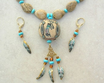 Southwest Hopi Kokopelli Pendant, Native American-Inspired, KLEW Focal Bead, Picture Jasper & Turquoise Beads, Necklace Set by SandraDesigns