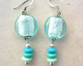 Turquoise Earrings, Foil Glass & Faux Turquoise Disks, Handmade Beaded Earrings, by SandraDesigns