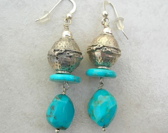 Artisan Earrings, Real Turquoise & Bali Sterling Silver Beads, Handmade Beaded Earrings by SandraDesigns