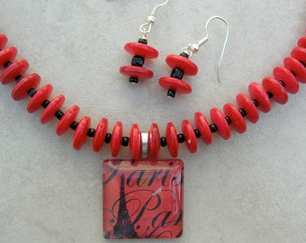 "SALE - 50% off, Eiffel Tower in Paris, ""Memories,"" Fused Glass Pendant, Red Shell and Black Glass Beads, Necklace Set by SandraDesigns"