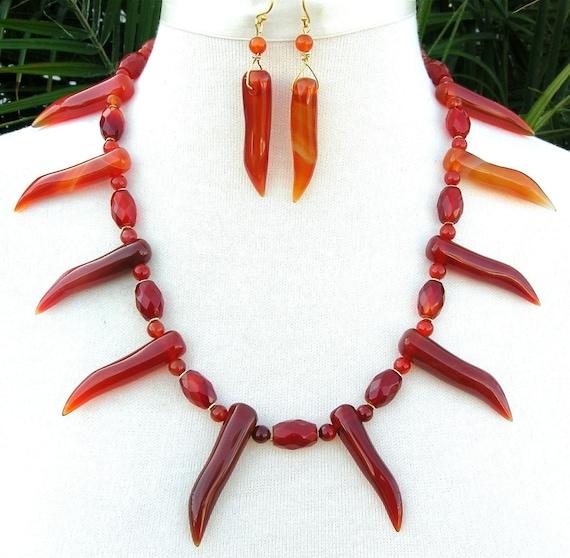 SALE Dramatic Carnelian, handmade beaded necklace set