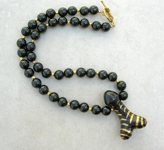 Erotic Gold & Black Shakti Phallus, Black Tourmaline and Gold Vermeil Beads, Unisex, MATURE, Statement Necklace by SandraDesigns