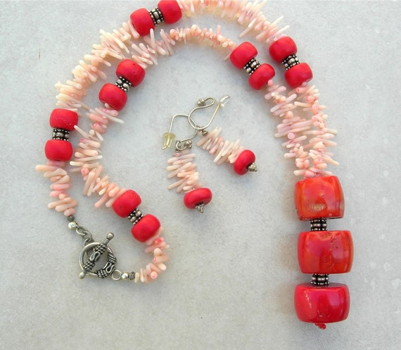 Coral Reef, Delicate Coral & Chunky Red Branch Coral, Sterling Silver Clasp and Beads, Sea Treasures, Necklace Set by SandraDesigns