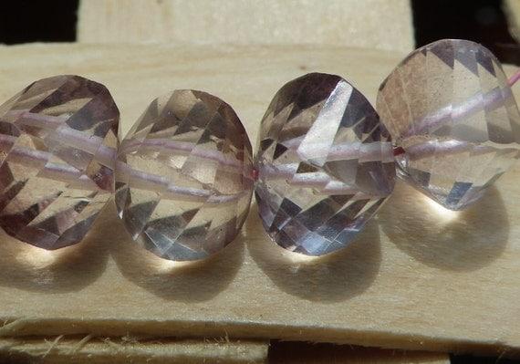 6 Pink Mystic Quartz Faceted Spiral Beads 6mm  Destash