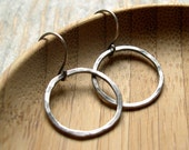 Simple Modern Everyday Fine Silver Hammered Circle Earrings