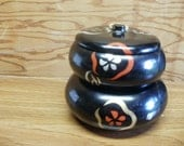 Vintage 1950s Japanese Rice Bowl Set with Handpainted Flowers