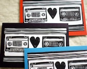 Wedding or Anniversary Cards, Mixtape Love, set of 3