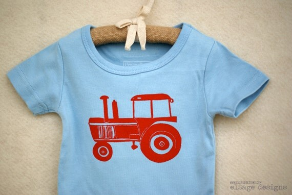 Tractor t shirt, red tractor on blue shirt, toddler tee 12 to 18  months