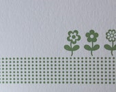 Green dots and spring flowers letterpress set of six cards by The Permanent Collection