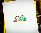A single letterpress card of mod bird family by The Permanent Collection