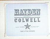 Letterpress Baby Announcement The Western by The Permanent Collection