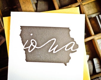 Single black and gold letterpress Iowa Card by The Permanent Collection
