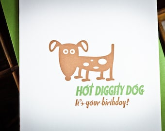 Hot dog birthday letterpress card by The Permanent Collection