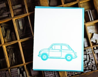 Fiat 500, light blue Cinquecento letterpress card by The Permanent Collection