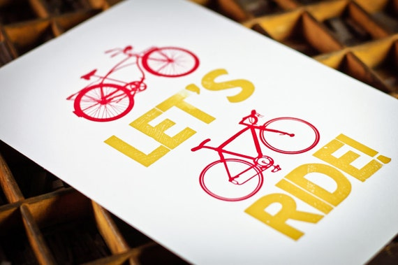 Letterpress bicycle broadside Let's Ride