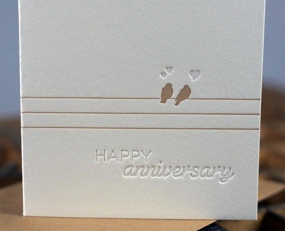 Happy Anniversary Letterpress and embossed card by The Permanent Collection