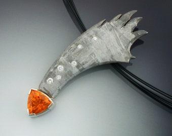 Mandarin Garnet, diamond and Gibeon Meteorite shooting star pendant