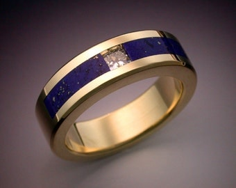 18k gold man's ring with Diamond and Lapis