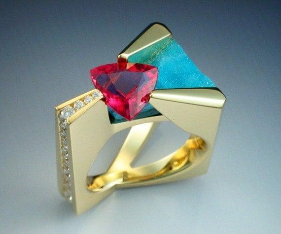 18k Pink Tourmaline, diamond and chrysocolla ring