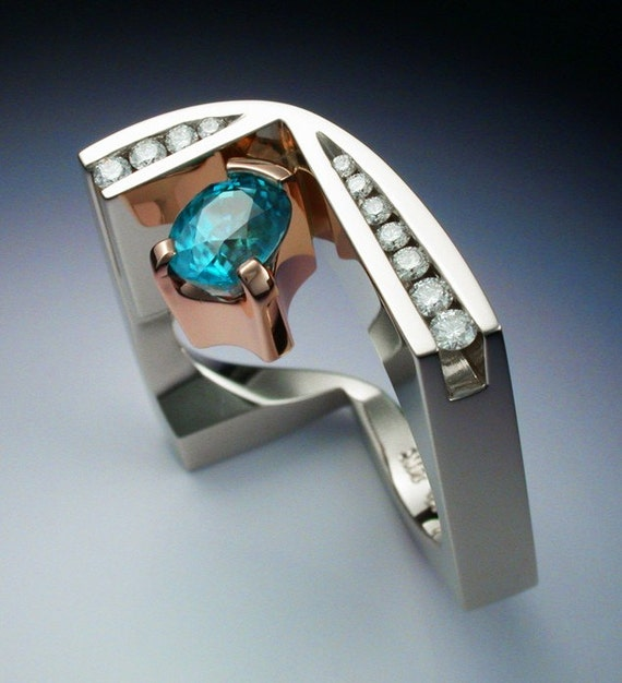 White and rose gold ring with blue Zircon and Diamonds