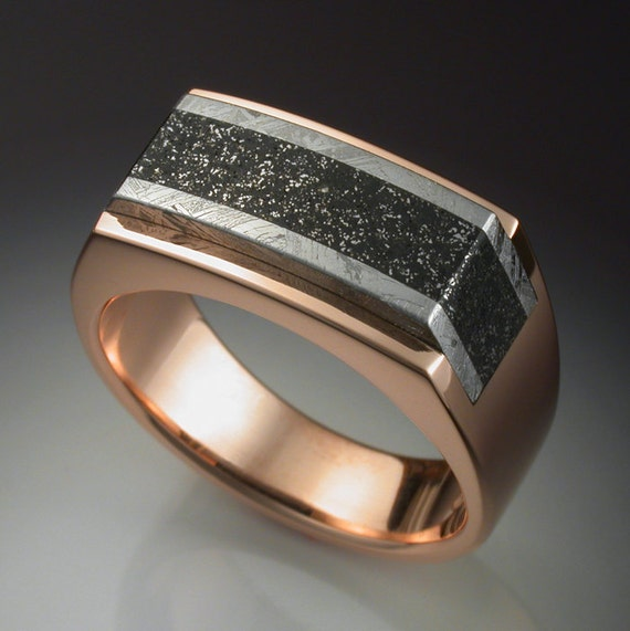14k Rose Gold Mans Ring with Iron and Chondrite Meteorite