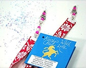 Pretty and Practical Satin and Bead Bookmark with Pink Flowers