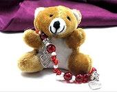 Red Swarovski Crystal Beads Beaded FREE Bracelet Round Bead Heart Charm Silver Beads on Elastic