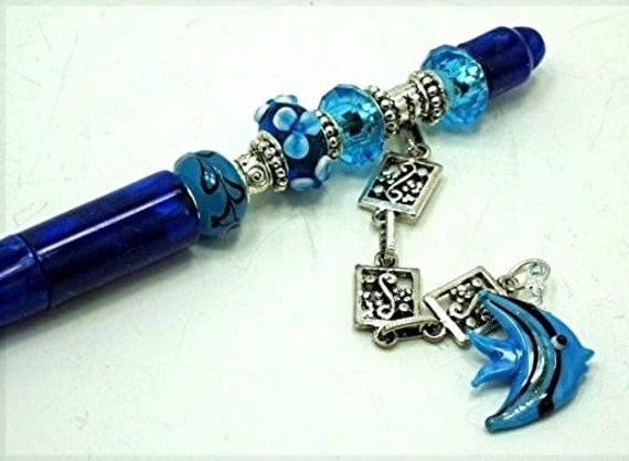 Blue Beaded Writing Pen with Blue Angelfish in the Kinship With All Life Series