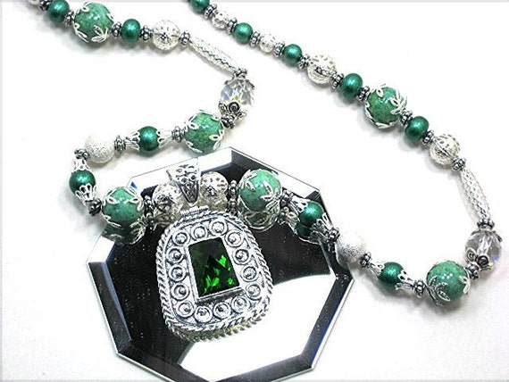 Created Green Peridot Gemstone Necklace 925 Sterling Silver