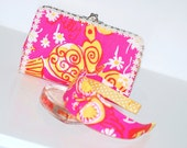 Vintage Seven inch Lilly Pulitzer Fabric Clutch and Headband Set