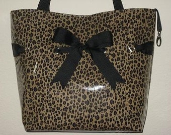 Large Leopard Tote with Black