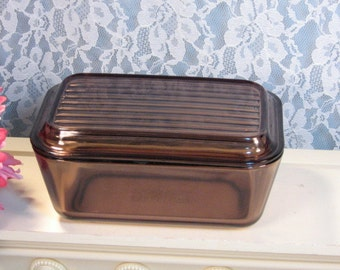 Vintage Pyrex Corning Ware Brown Visions Cookware Oblong Refrigerator Dish, Glass Food Storage, Glass Cookware, Vintage Kitchen Collectible