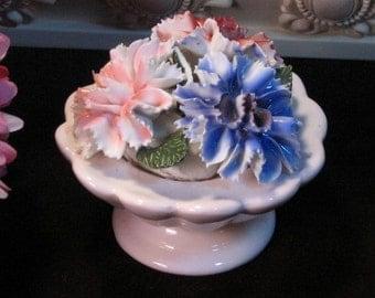 Vintage Floral Figurine English Bone China, Staffordshire Throley, 1960s Mid Century Porcelain, Carnation Figurine, Made in England