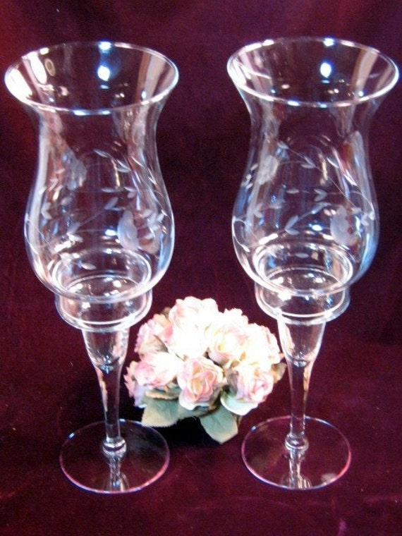 Vintage princess house crystal heritage candle lamps 1970s for Princess housse