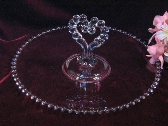 Vintage Imperial Glass Crystal Candlewick Heart Handled Pastry Tray, Elegant Crystal, 1930's Crystal Glass Dinnerware, Depression Glass