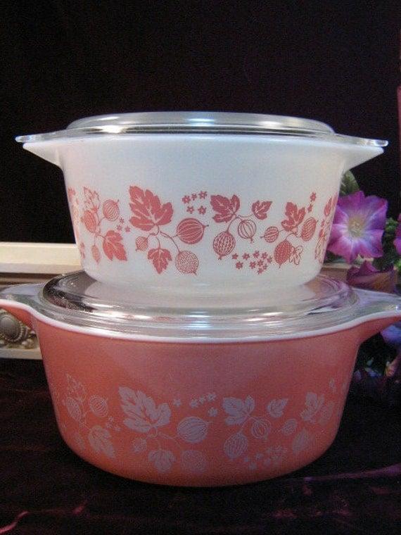 Vintage Pyrex Pink Gooseberry Covered Casserole Set
