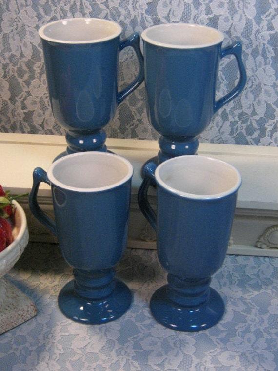 Vintage Hall Carbone China Blue Irish Coffee Hot Chocolate Mug Set
