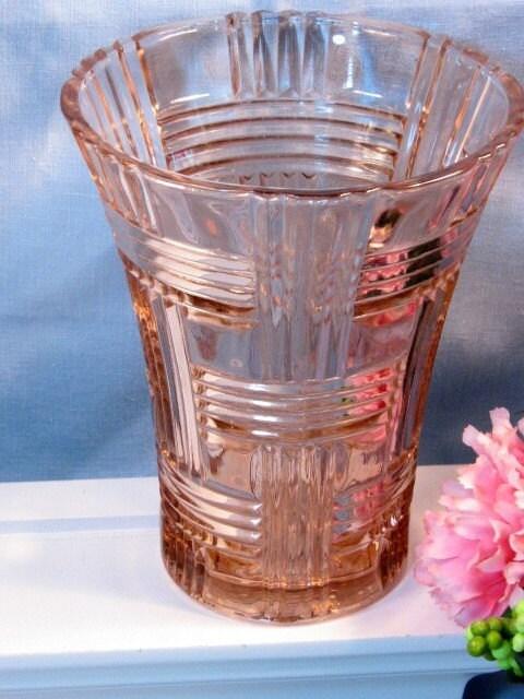 Hocking Prismatic Depression Glass Pink Vase