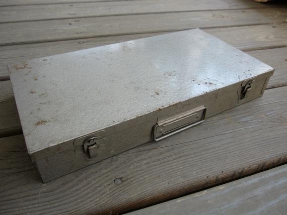 Vintage Gray Silver Industrial Box - Office, Storage